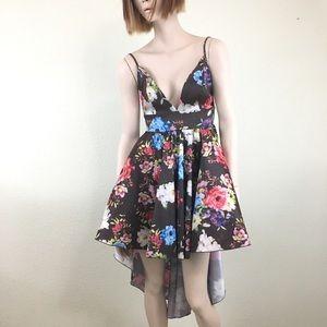 VIOLA Hi-Low Taffeta Mini Dress